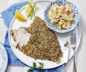Maischolle mit Pumpernickelkruste und Salat