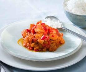 Sepia en salsa de pimiento rojo con arroz blanco