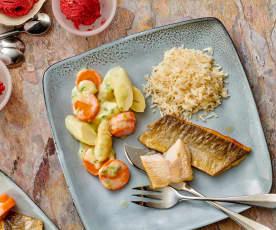 Menu : Filets de truite à la crème d'asperges, riz et glace aux fruits