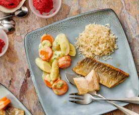 Menü: Forellenfillet mit Spargel-Rahmgemüse, Reis und Fruchteis