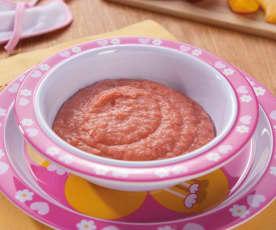 Hirseflockenbrei mit Erdbeer-Pfirsich