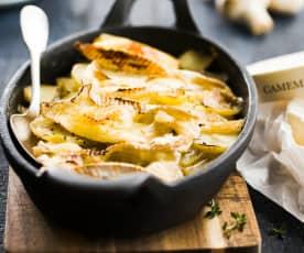 Gratin de pomme de terre au camembert et champignons de Paris