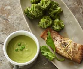 Erbsen-Ingwer-Suppe, Zitronenlachs mit Brokkoli