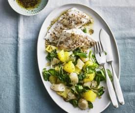 Gewürz-Zander mit Topinambur-Kartoffel-Gemüse