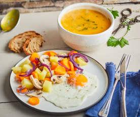 Velouté de courge au curcuma, légumes vapeur et œuf au plat