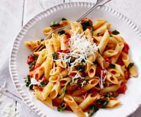Tomaten-Spinat-Nudeln