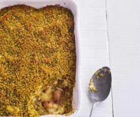 Empadão de bacalhau e batatas a murro
