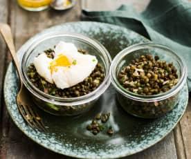 Salade de lentilles et œuf poché