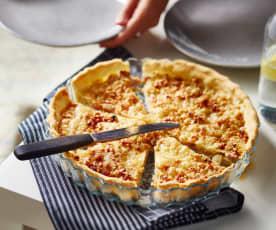 Tarte aux oignons, lardons et fromage