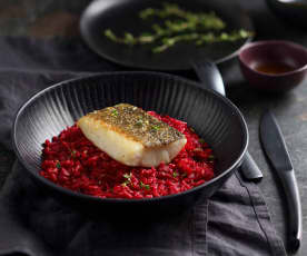 Sous-Vide Cod, Beet and Lemongrass Risotto