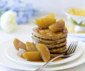 Wholefood Pancakes with Vanilla and Cinnamon Poached Apples