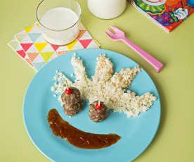 Albóndigas agridulces con arroz de coliflor