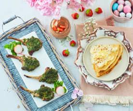 Crêpes primaverili, costolette di agnello alle erbe aromatiche e mousse al cioccolato