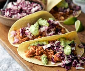 BBQ Pulled Jackfruit Tacos with Avocado Crema and Slaw