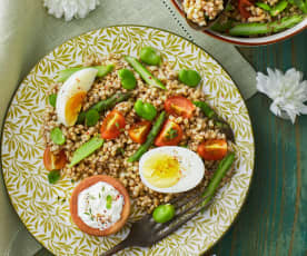 Insalata di grano saraceno con fave, asparagi e uova (senza glutine) (Bimby Friend)