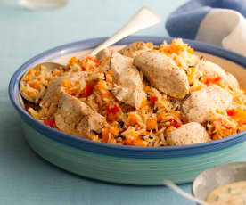 Chicken with Carrot & Red Pepper Rice and Creamy Mustard Sauce