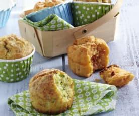 Muffins courgette et muffins saumon