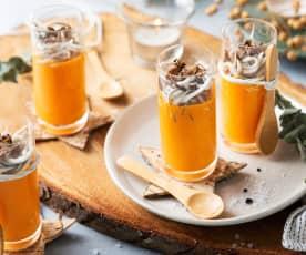 Vasitos de crema de piquillos con trufa y gulas