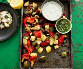 Legumes no forno com molho de iogurte e azeite aromatizado