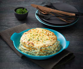 """Ricotta and spinach crespelle """"cake"""""""
