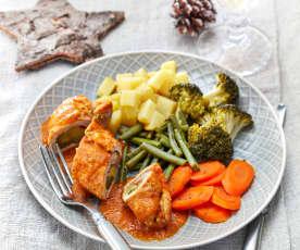 Puten-Rouladen auf Gemüse