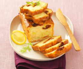 Plumcake salato al salmone, porri e pomodori confit
