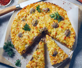 Spitzkohlquiche mit Bratwurstbällchen