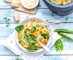 Spaghetti aux légumes du printemps