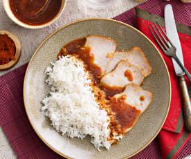 Lomo en salsa Thai con arroz al vapor (Cocción lenta)