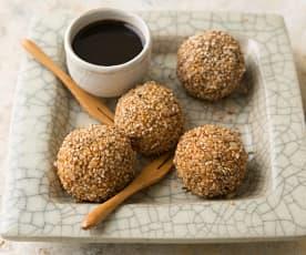 Bolitas de arroz integral con sésamo