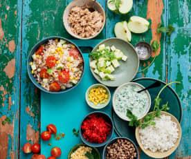 Salada de arroz e atum com molho de iogurte