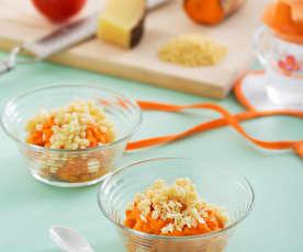 Puré de tomate y batata con pasta