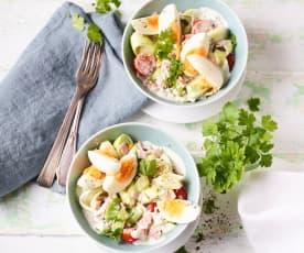 Schinken-Porree-Salat mit Ei