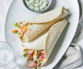 Lachs-Ei-Wraps mit Senfcreme