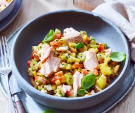Lachs mit Mozzarella-Mango-Tomaten-Salat