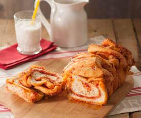 Pan milhojas de sobrasada y queso