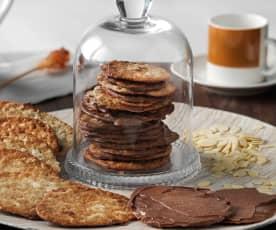Pastas de nata cubiertas de chocolate
