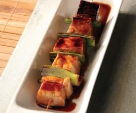 Brochetas de pez espada con salsa Teriyaki