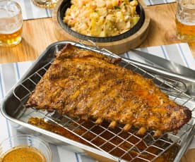 Costillar de cerdo asado al chimichurri con ensalada de patata y palmitos