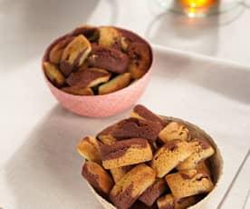 Financieros de chocolate y pistacho