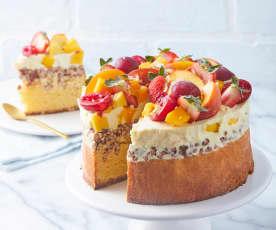 CH1: Pastel de almendras, turrón, mango y chocolate blanco