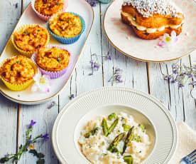 Menù: Risotto asparagi e Taleggio, Muffin salati e Crema pasquale (Pasqua) (Bimby Friend)
