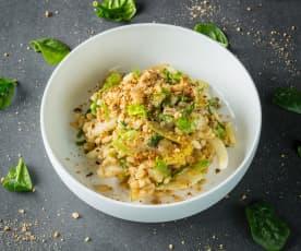 Lauwarmer Gerstensalat mit Fenchel und Birne