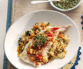 Marinated white fish fillets with chermoula sauce and couscous salad
