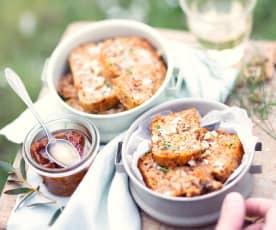 Minicakes tomate confite et roquefort, sans gluten