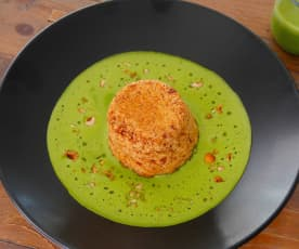 Double-baked cheese soufflés with asparagus sauce