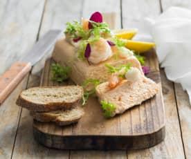 Prawn and trout terrine with horseradish cream