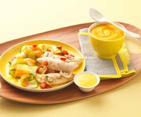 Poulet au curry, tagliatelles de légumes et velouté au lait de coco