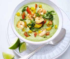Avokádová polévka s krevetami