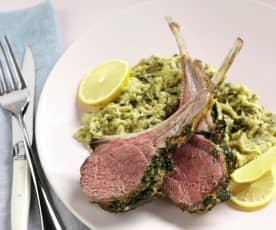Lamb with Artichoke and Spinach Purée